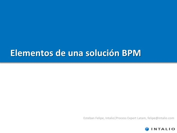 Elementos de una solución BPM                     Esteban Felipe, Intalio Process Expert Latam, felipe@intalio.com