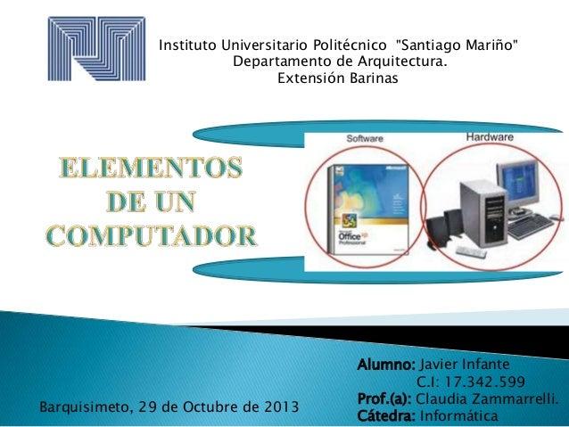 """Instituto Universitario Politécnico """"Santiago Mariño"""" Departamento de Arquitectura. Extensión Barinas  Barquisimeto, 29 de..."""