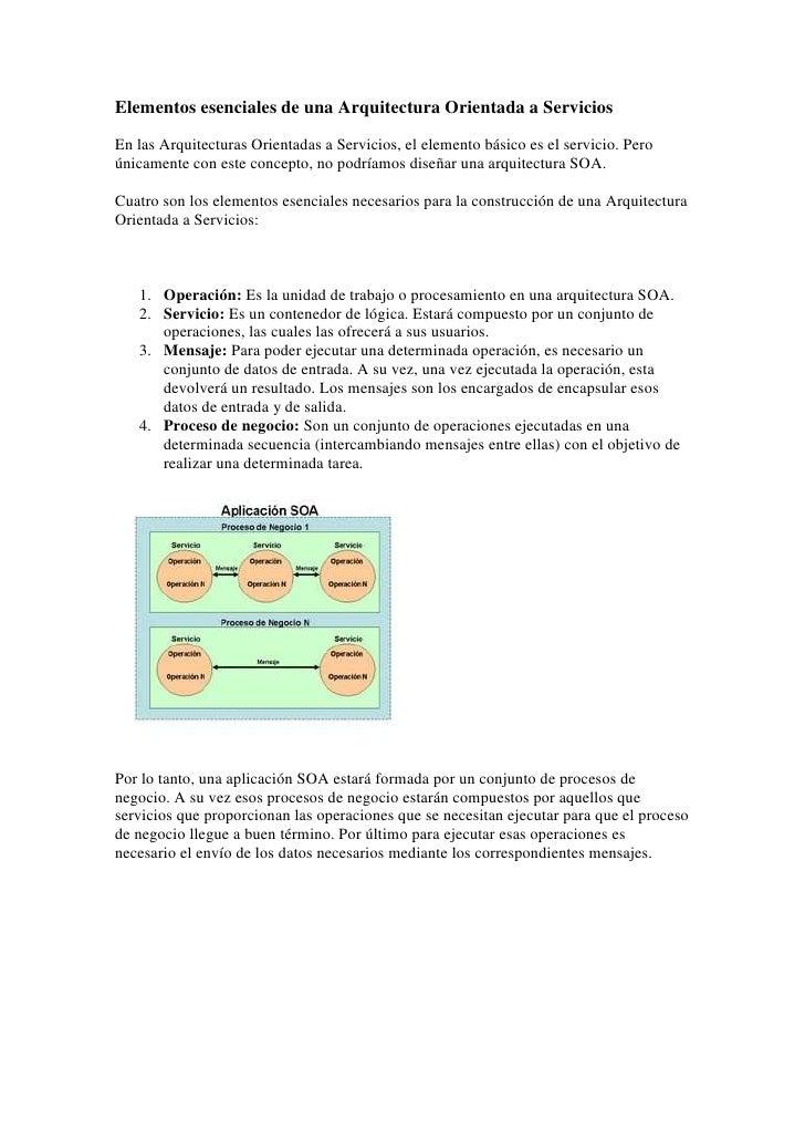 Elementos esenciales de una arquitectura orientada a servicios for Arquitectura orientada a servicios