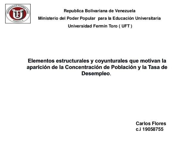 Republica Bolivariana de VenezuelaMinisterio del Poder Popular para la Educación Universitaria              Universidad Fe...
