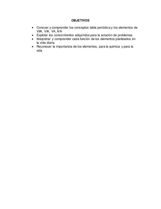Elementos grupos viia via va iva de la tabla periodica 4 objetivos conocer y comprender los conceptos tabla peridica y los elementos urtaz Image collections