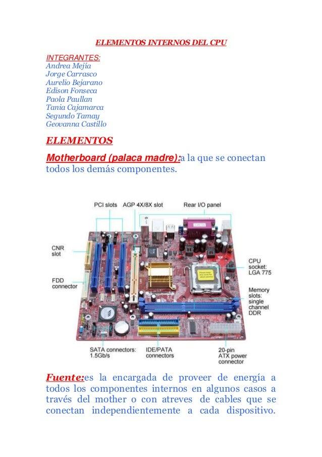 ELEMENTOS INTERNOS DEL CPU INTEGRANTES: Andrea Mejía Jorge Carrasco Aurelio Bejarano Edison Fonseca Paola Paullan Tania Ca...