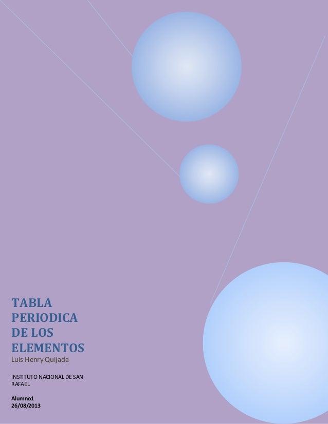 TABLA PERIODICA DE LOS ELEMENTOS Luis Henry Quijada INSTITUTO NACIONAL DE SAN RAFAEL Alumno1 26/08/2013