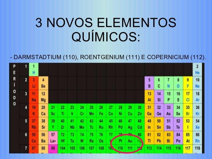 3 NOVOS ELEMENTOS QUÍMICOS: - DARMSTADTIUM (110), ROENTGENIUM (111) E COPERNICIUM (112).