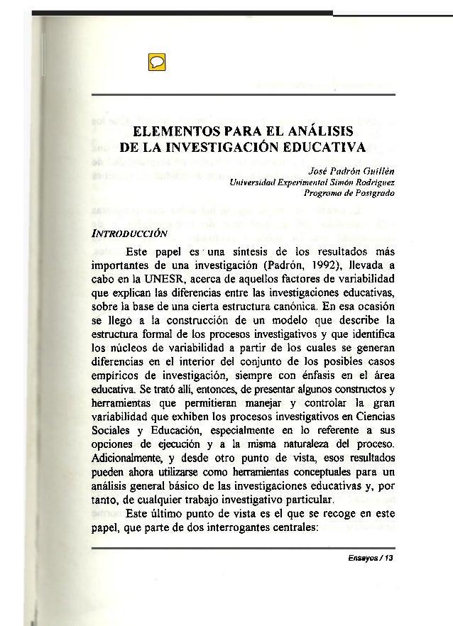 Elementos para el análisis de la investigación educativa de José Padrón