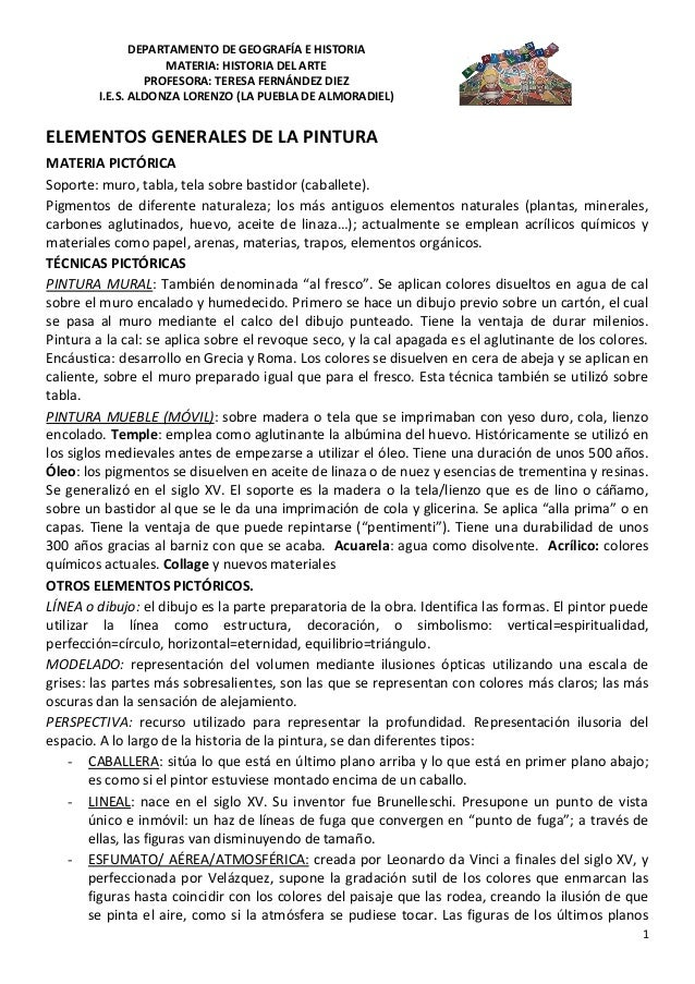 DEPARTAMENTO DE GEOGRAFÍA E HISTORIA                    MATERIA: HISTORIA DEL ARTE                 PROFESORA: TERESA FERNÁ...