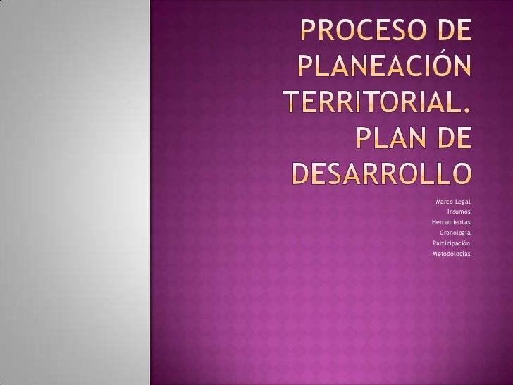 Marco Legal.     Insumos.Herramientas.  Cronología.Participación.Metodologías.