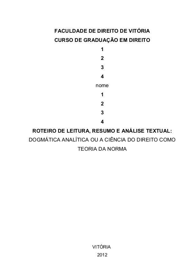 FACULDADE DE DIREITO DE VITÓRIA CURSO DE GRADUAÇÃO EM DIREITO 1 2 3 4 nome 1 2 3 4 ROTEIRO DE LEITURA, RESUMO E ANÁLISE TE...