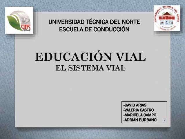 EDUCACIÓN VIAL EL SISTEMA VIAL 1 -DAVID ARIAS -VALERIA CASTRO -MARICELA CAMPO -ADRIÁN BURBANO UNIVERSIDAD TÉCNICA DEL NORT...