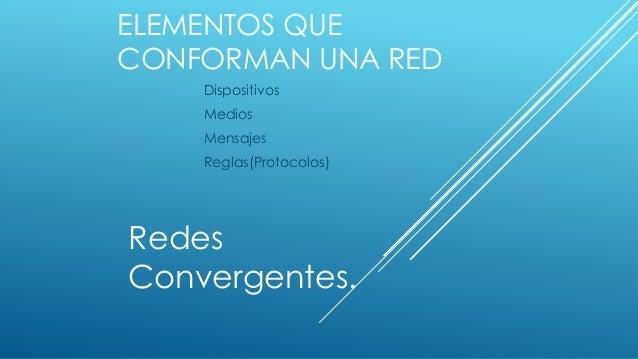 ELEMENTOS QUE CONFORMAN UNA RED Dispositivos Medios Mensajes Reglas(Protocolos) Redes Convergentes.