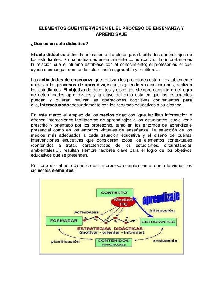 ELEMENTOS QUE INTERVIENEN EL EL PROCESO DE ENSEÑANZA Y                         APRENDISAJE¿Que es un acto didáctico?El act...