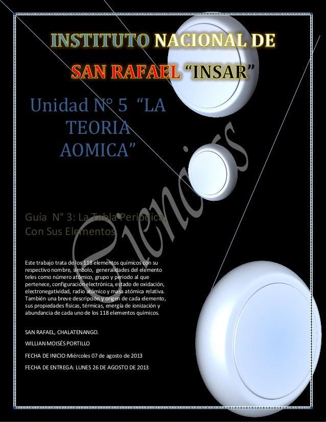 """Unidad N° 5 """"LA TEORIA AOMICA"""" Guía N° 3: La Tabla Periódica, Con Sus Elementos. Este trabajo trata de los 118 elementos q..."""