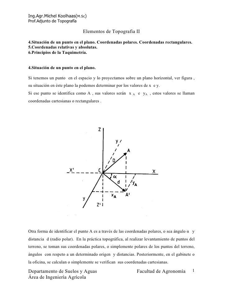 Ing.Agr.Michel Koolhaas(M.Sc) Prof.Adjunto de Topografía                                Elementos de Topografía II  4.Situ...