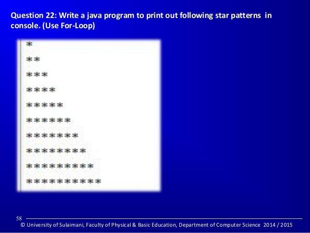 Java Program to Print star pattern t