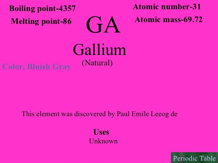 the discovery of the element gallium The discovery of what element showed the usefulness of mendeleev's periodic table a: gallium b: aluminum c: s get the answers you need, now.