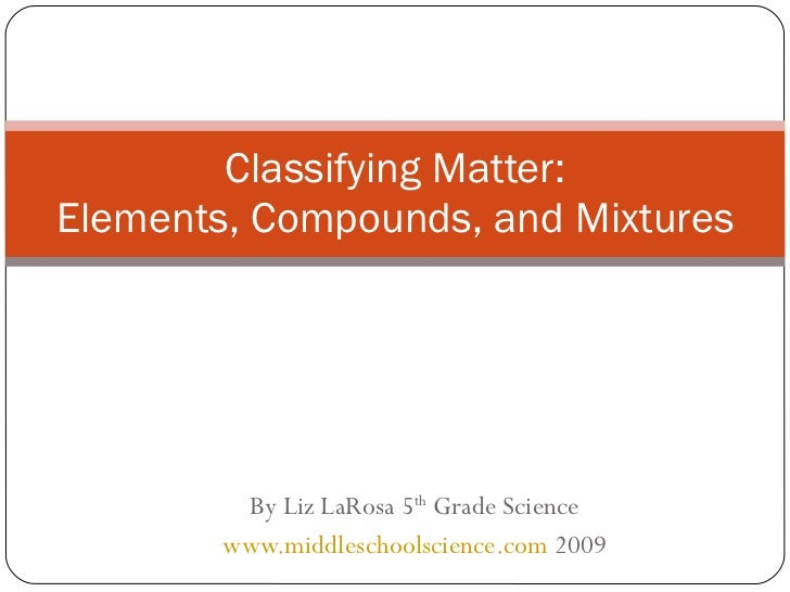 By Liz LaRosa 5 th  Grade Science www.middleschoolscience.com  2009 Classifying Matter: Elements, Compounds, and Mixtures