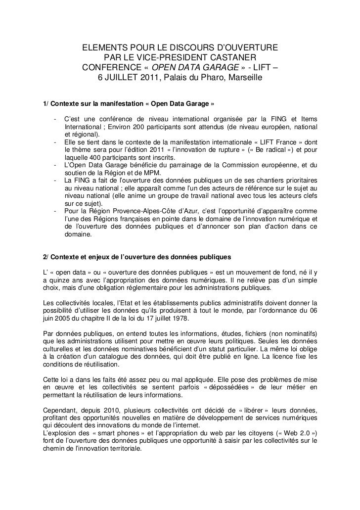 ELEMENTS POUR LE DISCOURS D'OUVERTURE                  PAR LE VICE-PRESIDENT CASTANER             CONFERENCE « OPEN DATA G...
