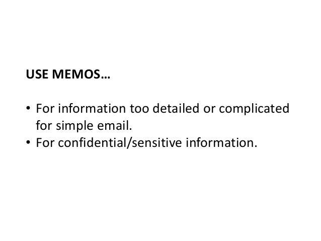 EXAMPLE: MEMO FORMATS; 11.  Memo Formats
