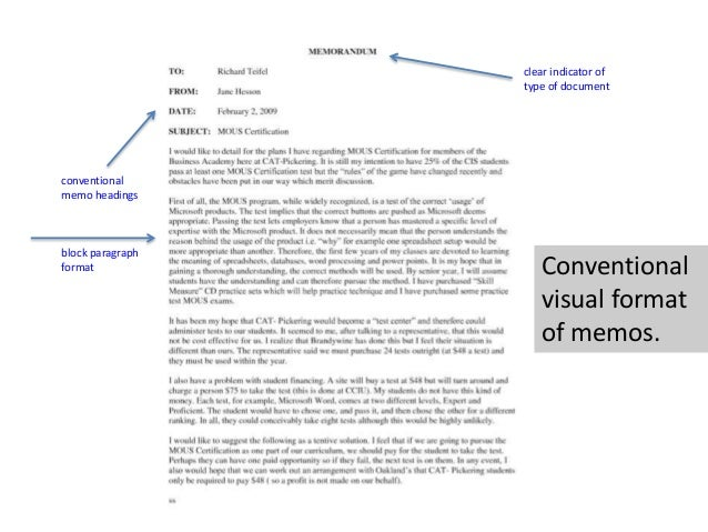 12 conventional memo headings block paragraph format