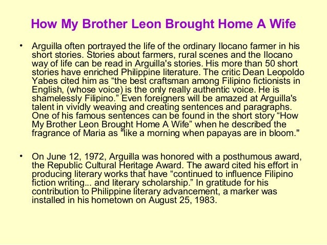 fiction and brother leon brought How my brother leon brought home a wife is a story about an occasion that would be a big day in the life of any family, the day one of the sons of the family brings hope the woman he intends to marry.