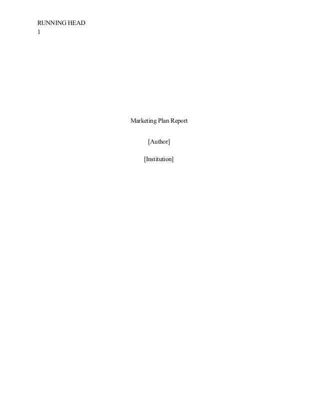 Elements of Marketing Plan Report Sample APA