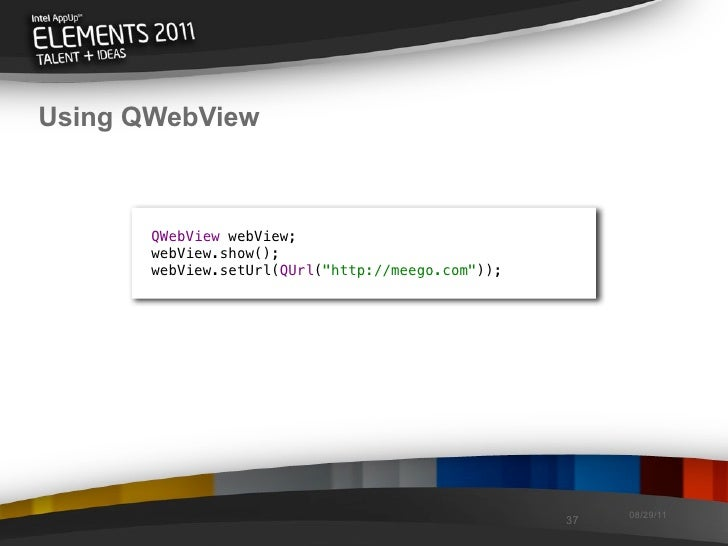 Using QWebView QWebView webView