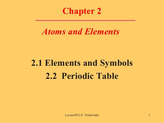 Chapter 2 Atoms and Elements 2.1 Elements and Symbols 2.2 Periodic Table  LecturePLUS Timberlake  1