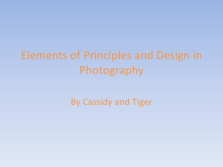 Elements of Principles and Design in           Photography         By Cassidy and Tiger