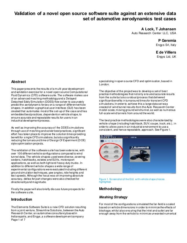 Page 1 of 7 Validation of a novel open source software suite against an extensive data set of automotive aerodynamics test...