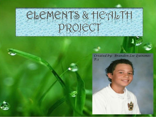 ELEMENTS & HEALTH     PROJECT          Created by: Brandon Lee Quinones          P.3