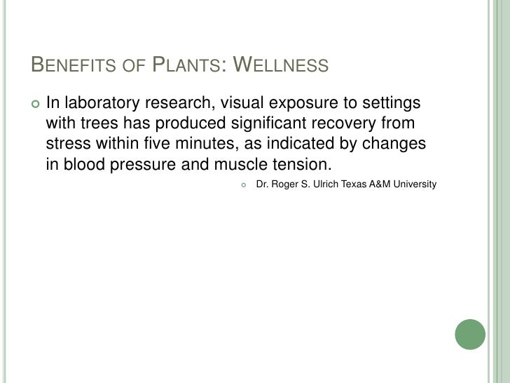 Benefits of Plants: Wellness<br />In laboratory research, visual exposure to settings with trees has produced significant ...
