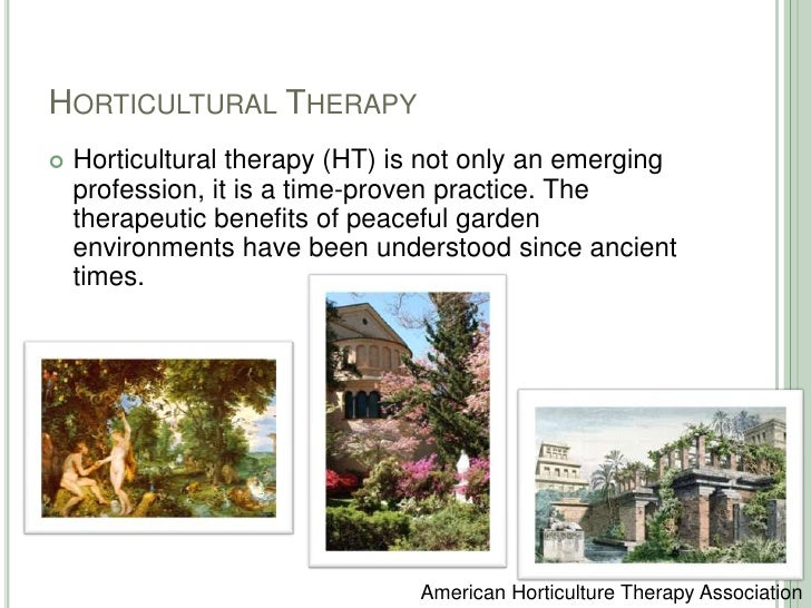 Horticultural Therapy<br />Horticultural therapy (HT) is not only an emerging profession, it is a time-proven practice. Th...