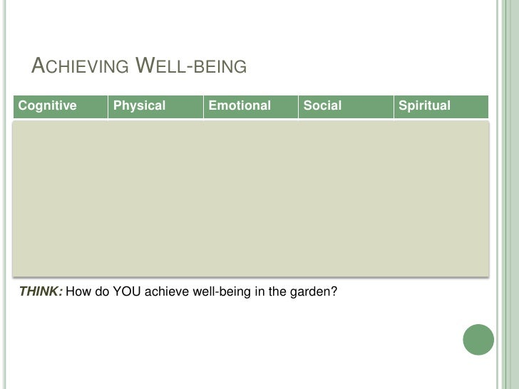 Achieving Well-being<br />THINK: How do YOU achieve well-being in the garden?<br />