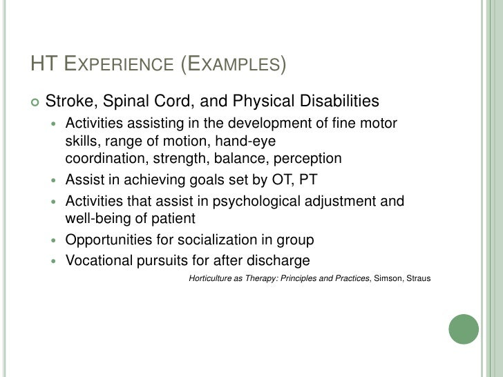 HT Experience (Examples)<br />Stroke, Spinal Cord, and Physical Disabilities<br />Activities assisting in the development ...