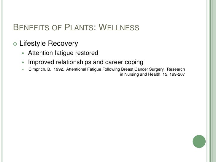 Benefits of Plants: Wellness<br />Lifestyle Recovery<br />Attention fatigue restored<br />Improved relationships and caree...