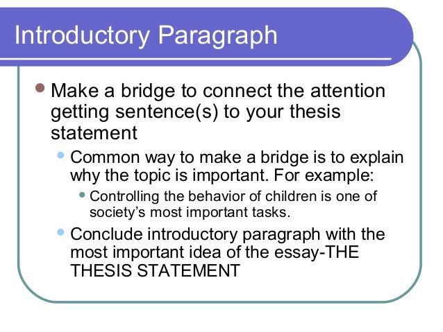 Elements Of An Effective Essay  Introductory Paragraph Make