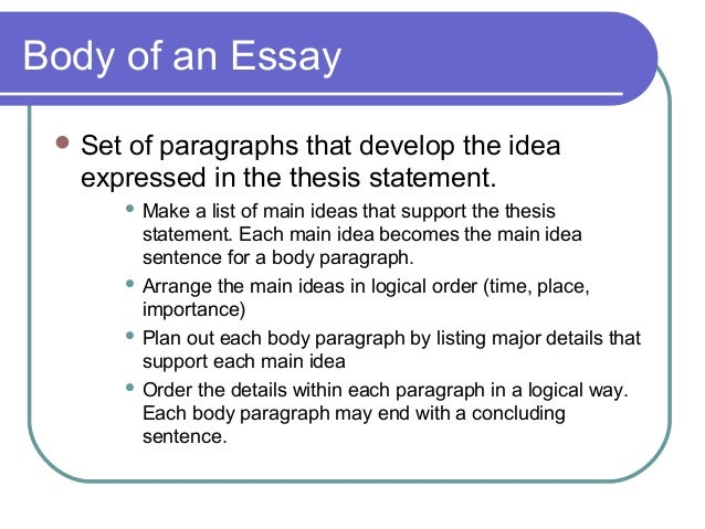 Key elements of a thesis statement