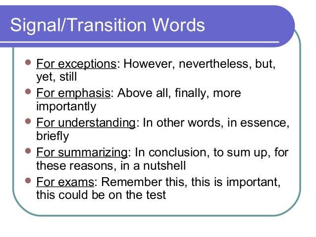 concluding transition words essays Transitional words and phrases can create powerful links between ideas in your paper and can help your reader understand the logic of your paper however, these words.