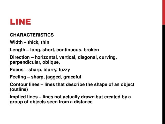 Characteristics Of Line In Art : Elements of art