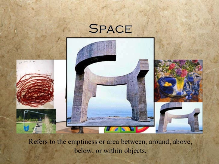 Space Refers to the emptiness or area between, around, above, below, or within objects.