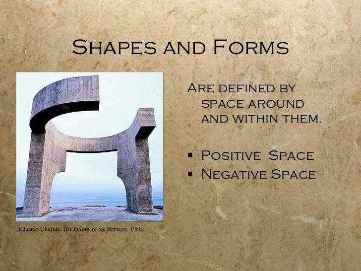 Shapes and Forms <ul><li>Are defined by space around and within them. </li></ul><ul><li>Positive  Space  </li></ul><ul><li...