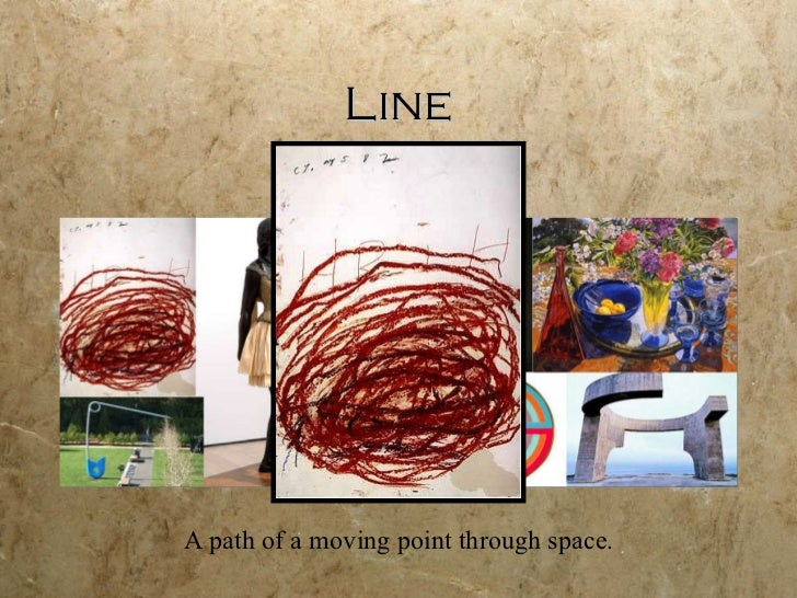 Line A path of a moving point through space.