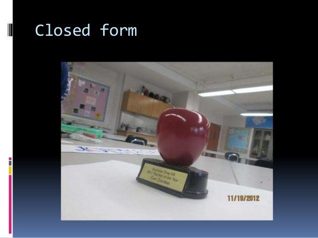 Closed form