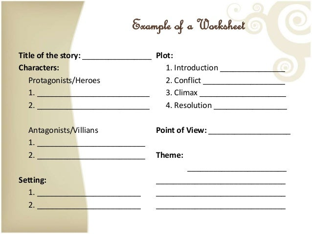 Elements of a Short Story – Elements of a Short Story Worksheet