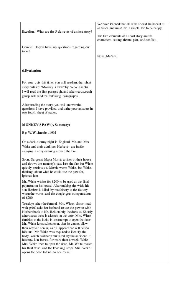 Elements of a short storyLesson Plan – Elements of a Short Story Worksheet