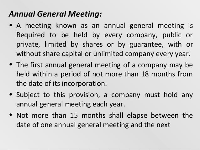 differences between statutory meeting agm and egm The directors of the company should determine the date of the agm (if they wish to hold one) and may call an egm whenever they think fit there are also provisions for members to request a general meeting to be held and to call one themselves if their request is not complied with the main statutory provisions are.