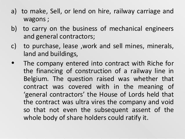 ashbury railway carriage iron ltd co vs richie Home company ashbury railway carriage and iron co v riche: hl 1875 ashbury railway carriage and iron co v riche: hl 1875 may 2 goldstein v bircham and co nominees (no 2) ltd, stowell, visortuning ltd chd ([2003] ewhc 3173 (ch), bailii.