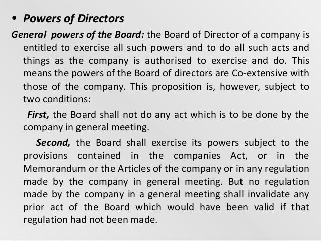 powers of directors in company law