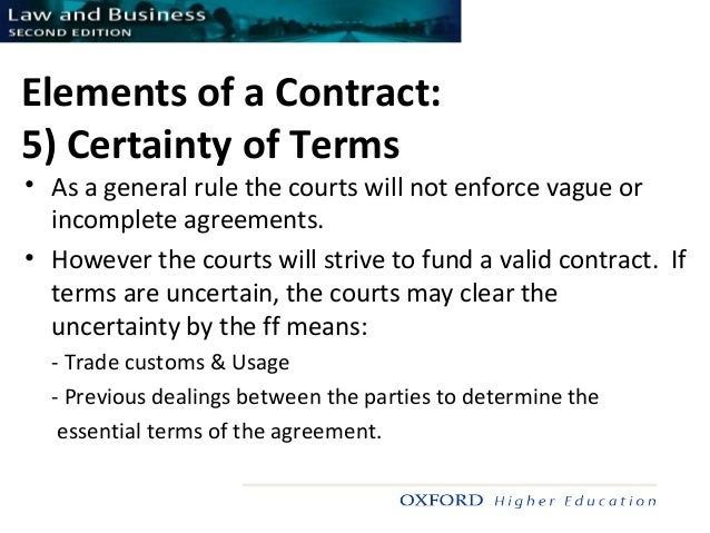 5 elements of a valid contract