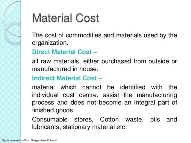 Elements Of Costs And Classification Of Expenditure